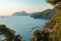 Rocky coast of Corfu, Greece Royalty Free Stock Images