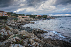 Rocky coast of the Cote d'Azur, Stock Images