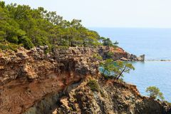 Rocky coast covered by pines in Kemer, Antalya, Turkey royalty free stock photography