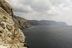 The rocky coast of the Crimea near Balaklava. Ukraine Stock Photos