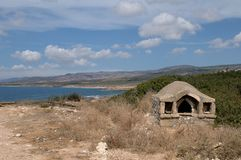 Rocky coast on Cyprus - Stone stove Royalty Free Stock Images