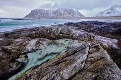 Rocky coast of fjord in Norway royalty free stock images