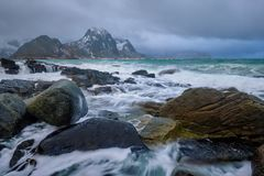 Rocky coast of fjord in Norway stock image