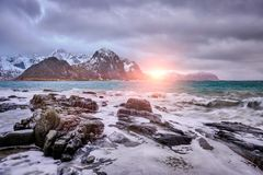 Rocky coast of fjord in Norway royalty free stock photos