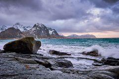 Rocky coast of fjord in Norway royalty free stock image