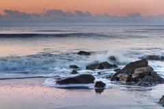 Rocky Coast of Folly Beach, South Carolina Royalty Free Stock Photos