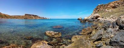 Rocky coast of Ghajn Tuffieha with azure water, Malta. EU Royalty Free Stock Photography