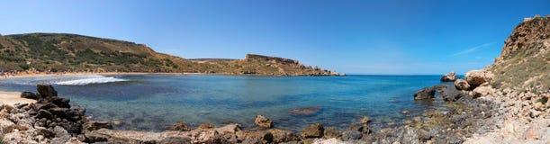Rocky coast of Ghajn Tuffieha panorama, Malta. EU Stock Images