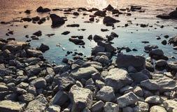 Rocky coast of Gulf of Finland, dark stones Stock Photos