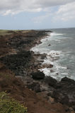 Rocky coast of Hawaii from above the shoreline in Hawaii Royalty Free Stock Photography