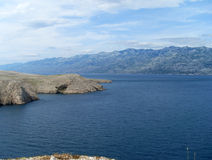 Rocky coast of island pag in croatia Stock Photo
