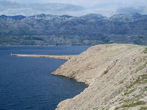 Rocky coast of island pag in croatia Stock Photography