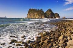 Rocky coast on the Izu Peninsula, Japan. The Sanshiro-Jima islands (三四郎島) on the rocky coastline of the Izu Peninsula in Japan on a stock image