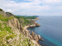 Rocky coast of the Japan sea stock image