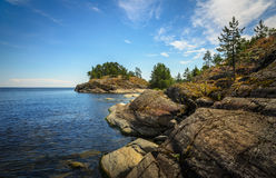 Rocky coast of ladoge lake Royalty Free Stock Photography