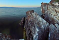 Rocky coast at Lake Baikal Stock Photos
