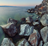 Rocky coast at Lake Baikal Royalty Free Stock Image