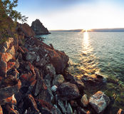 Rocky coast at Lake Baikal, Shamanka Royalty Free Stock Photos