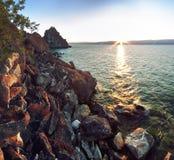 Rocky coast at Lake Baikal, Shamanka. Morning at Khuzhir, Olkhon island, Baikal Royalty Free Stock Photos
