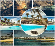 Rocky coast and lakes of Lanzarote Royalty Free Stock Photos
