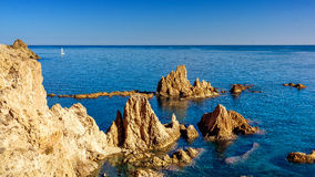 Rocky coast las sirenas. Landscape photo: the famous rocks of las sirenas in the natural park of Cabo de Gata Andalusia royalty free stock images
