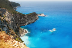 Rocky coast of Lefkada, Greece Royalty Free Stock Images
