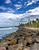 Rocky coast line [HDR]. HDR image of coast line of kovalam full of rocks and coconut trees Royalty Free Stock Photography