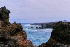Rocky coast los hervideros in Lanzarote royalty free stock images