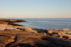 Rocky coast in Maine. Sunny afternoon on a rocky coast royalty free stock photo