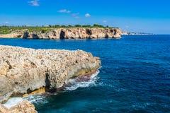 Rocky coast on Majorca Spain Mediterranean Sea. Spain Mediterranean Sea, rocky coastline on Mallorca near Cala Varques, Balearic Islands Stock Image