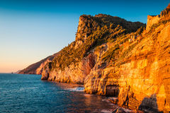 Rocky coast and Mediterranean sea at sunset Royalty Free Stock Images