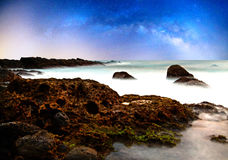 Rocky coast and milkyway Royalty Free Stock Photo