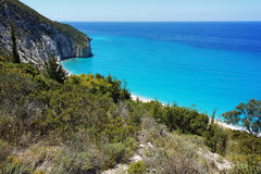 Rocky coast of Milos Beach, Lefkada,  Greece Royalty Free Stock Photos