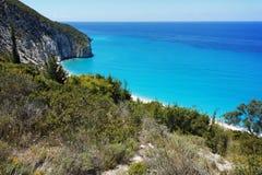 Rocky coast of Milos Beach, Lefkada,  Greece Royalty Free Stock Photos