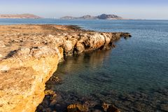 The rocky coast of Naussa, Paros Stock Photos
