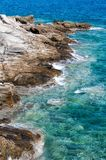 The rocky coast of Naussa, Paros island Royalty Free Stock Photos