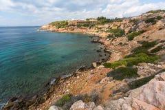 Rocky coast near Athens, Aegean sea Stock Photo