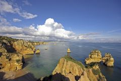 Rocky coast near Lagos in Portugal Royalty Free Stock Photography