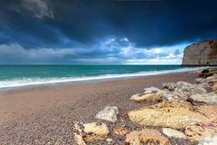 Rocky coast in Normandy Stock Images