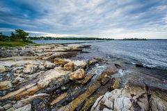 Rocky coast at Odiorne Point State Park, in Rye, New Hampshire. stock photos