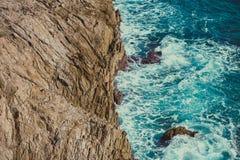 Rocky coast of Portman. Located between La Manga and Cartagena. Murcia, Spain Royalty Free Stock Photography