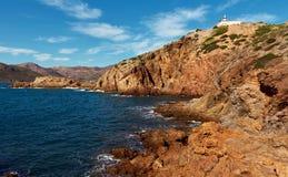 Rocky coast of Portman. Located between La Manga Club and Cartagena. Murcia, Spain Royalty Free Stock Photography