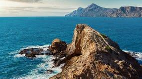 Rocky coast of Portman. Located between La Manga Club and Cartagena. Murcia, Spain Royalty Free Stock Photos