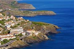 Rocky coast in the Pyrenees Orientales Stock Photos