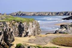 Rocky coast at Quiberon in France stock image
