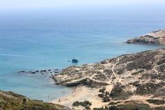 Rocky coast at  Rhodes Island Stock Photo