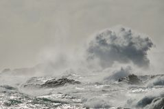 Rocky coast with rough sea. And big wave when breaking, Telde, Gran canaria, canary islands Stock Photography