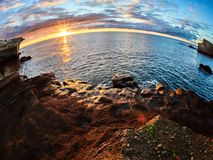 Rocky coast of San Miguel del Tajao of the southeast part of Tenerife at sunrise in the Spanish Canary Islands.  royalty free stock images