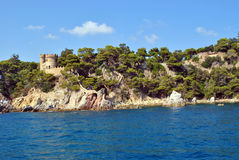 Rocky coast of a sea bay in Spain. Royalty Free Stock Image