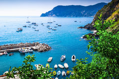 Rocky coast and the sea, Cinque Terre Stock Image